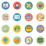 Flat Education Icons Set 1 - Dot Series Stock Photo