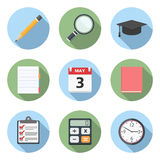 Flat Education Icons Stock Photo