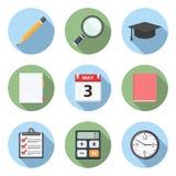 Flat Education Icons. Education icons set, flat design Stock Photo