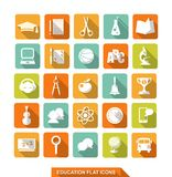 Flat education icons with shadow Royalty Free Stock Photos