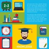 Flat education infographic background. Royalty Free Stock Photo
