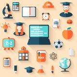 Flat education infographic background. Stock Photos