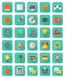 Flat Education and Leisure Icons Set. Set of 30 flat education and leisure icons with long shadows Stock Photo