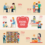 Flat Education people learn read study report vect Stock Photo