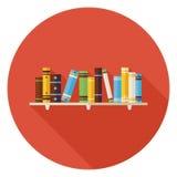 Flat Education Reading Books with Bookshelf Icon with Long Shado Stock Image