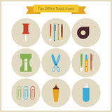 Flat Education School and Business Office Tools Icons Set Royalty Free Stock Photos