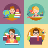 Flat education student pupil kid parent teacher Stock Images