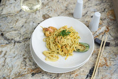 Flat egg noodles with seafood Royalty Free Stock Photography