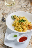 Flat egg noodles with seafood Stock Photography