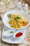 Flat egg noodles with seafood Royalty Free Stock Images