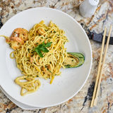 Flat egg noodles with seafood Royalty Free Stock Photos