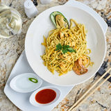 Flat egg noodles with seafood Royalty Free Stock Image
