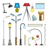 Flat electric lantern city lamp street urban lights fitting illuminator technology light bulb electricity vector Stock Photos