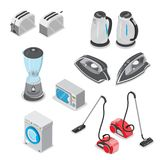 Flat electronics home appliance isometric 3d illus. Flat style electronics home appliance isometric 3d illustration set. Electric toaster, kettle, extract iron Stock Image