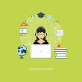 Flat  elements of education with girl Royalty Free Stock Images