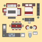 Flat elements, flat interior top view. Vector Royalty Free Stock Image
