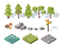 Flat elements of nature. Trees, bushes, rocks Stock Photo