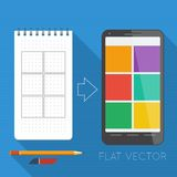 Flat elements: notepad and smartphone Royalty Free Stock Image
