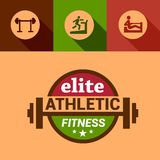 Flat elite fitness design elements Stock Photography