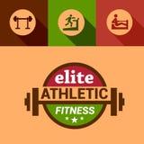 Flat elite fitness design elements Stock Photography