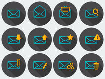Flat email icons set Stock Image