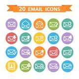 Flat Email icons set. Flat white  Email icons set on color circle Stock Images
