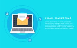 Flat  for email marketing, newsletter marketing, email subscription and drip campaign. With icons on blue background Stock Photo