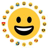 20 Flat Emoji Smileys Face Positive. Flat design. 20 positive emojis together Royalty Free Stock Photography