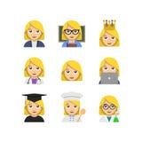 Flat emoticon style woman icons stock illustration