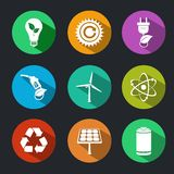 Flat Energy and Ecology Icons Set. With light bulb nuclear power and gas station decorative elements isolated vector illustration royalty free illustration
