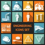 Flat Engineering Icons Set. Engineering construction and industrial icons set of working industry and equipment symbols vector illustration
