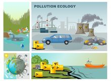 Flat Environment Pollution Composition. With factory industrial waste water contamination clean and dirty planet vector illustration stock illustration
