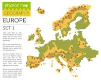 Flat Europe physical map constructor elements isolated on white. Build your own geography infographics collection. Vector illustration Stock Photo