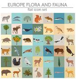 Flat European flora and fauna map constructor elements. Animals,. Birds and sea life isolated on white big set. Build your own geography infographics collection Royalty Free Stock Photos