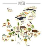 Flat European flora and fauna map constructor elements. Animals, Royalty Free Stock Image