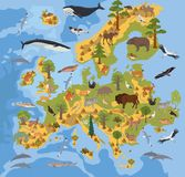 Flat European flora and fauna map constructor elements. Animals,. Birds and sea life  on white big set. Build your own geography infographics collection. Vector Stock Image