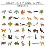 Flat European flora and fauna map constructor elements. Animals,. Birds and sea life isolated on white big set. Build your own geography infographics collection Stock Photography