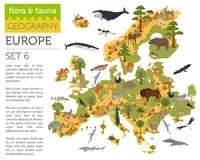 Flat European flora and fauna map constructor elements. Animals,. Birds and sea life  on white big set. Build your own geography infographics collection. Vector Royalty Free Stock Photos