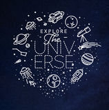 Flat explore universe monogram blue. Space flat monogram lettering explore the universe drawing with white lines on blue background Stock Photos