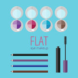 Flat eye makeup set Royalty Free Stock Photos