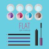 Flat eye makeup set Royalty Free Stock Photos