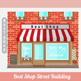 Flat facade of best shop. street building Royalty Free Stock Images