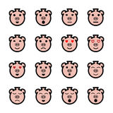 Flat face pig emoticons set Stock Photo