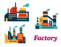 Flat factories icons Royalty Free Stock Photo