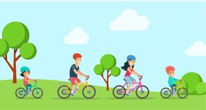 Flat Family children riding bicycle bike  il. Flat Family with children riding bicycle at park forest  characters illustration. Mother father with daughter son Royalty Free Stock Photos