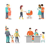 Flat Family cook baby pregnant woman parenting vec. Flat Family cooking, having fun, baby in pram, pregnant woman in husband hands  illustration set. Casual life Royalty Free Stock Photography
