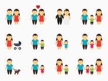 Flat family icons set Stock Image