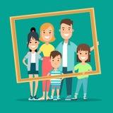 Flat Family portrait  illustration. Children. Flat Happy Family portrait picture  illustration. Children and parents. Parenting: mother, father, kids, son Stock Image