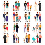 Flat Family Set Stock Photography