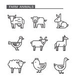 Flat farm animal. Vector black flat farm animal icons on white Stock Photography